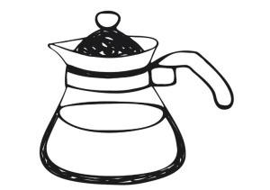 Illustration of a CorningWare style teapot.