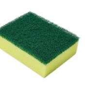 A yellow and green kitchen sponge.