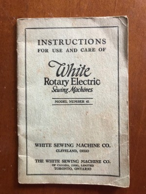 Value of a 1927 White Rotary Electric Sewing Machine - manual