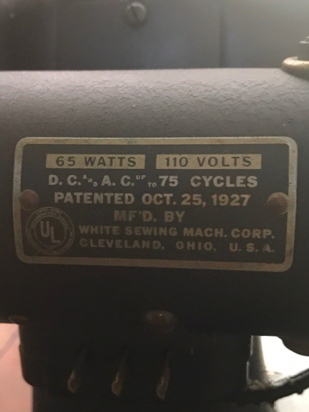 Value of a 1927 White Rotary Electric Sewing Machine  - label with model informtion