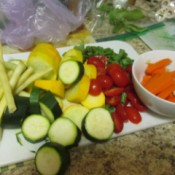 Farm grown fresh vegetables, cut up and ready to cook.
