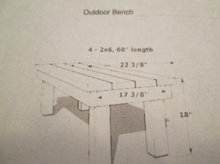 Outdoor Bench Made Easy - view of drawing of bench from the end with the top in place