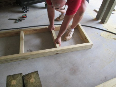 Outdoor Bench Made Easy - adding joists between the long side boards of the bench