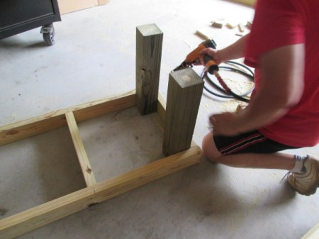Outdoor Bench Made Easy - attaching the legs in the corners