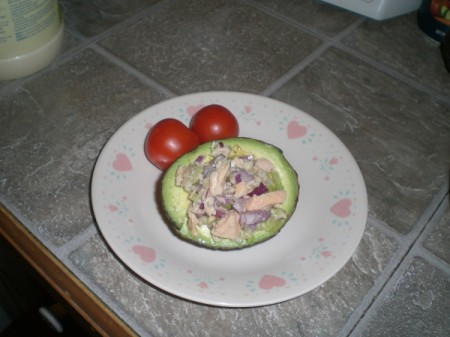 Tuna Stuffed Avocado on plate