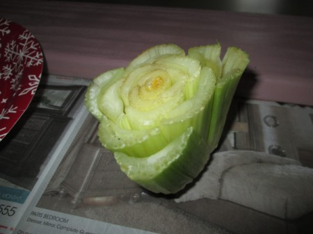 Making Fun Yard Signs - cut celery for painting/stamping roses