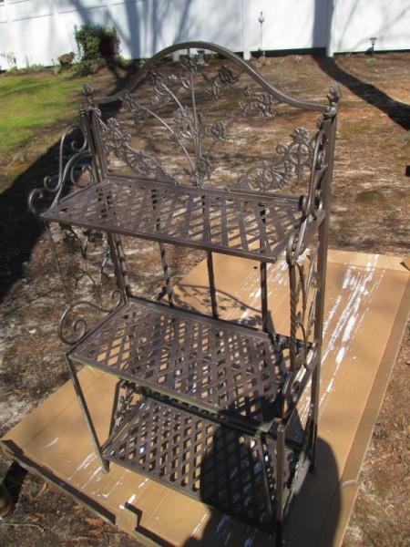 Using A Baker's Rack In Your Garden - painted rack
