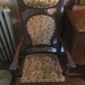 Identifying Old Chairs - old wood and upholstered glider chair