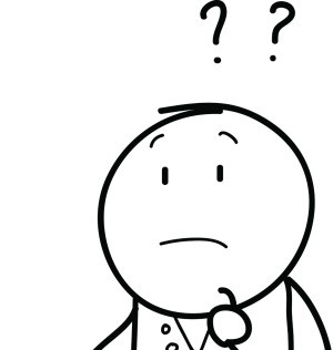 An illustration of a man thinking with question marks above his head.