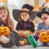 Three kids wearing cute costumes.