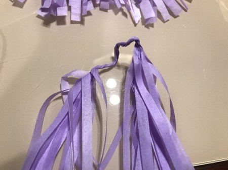 Tissue Paper Tassel Garland Decor - fold the piece in half