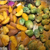 potatoes and brussel sprouts on pan