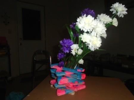 Popsicle Stick Vase - vase with flowers