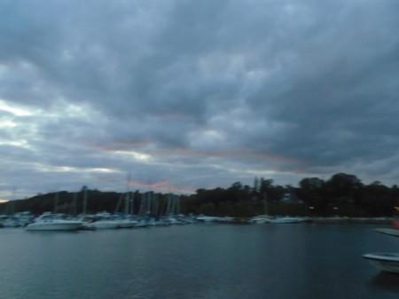 A cloudy sunset at Joel Stone Beach.