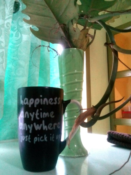 """A mug that says """"Happiness anytime anywhere, just pick it up"""" next to a window and a green vase."""