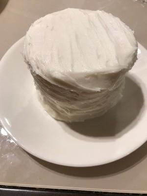 Mini Yogurt Cake with Vanilla Buttercream Frosting on plate