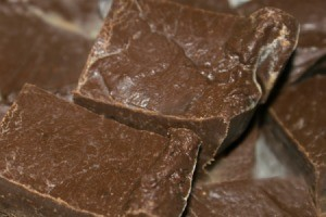 Close up photo of homemade fudge.