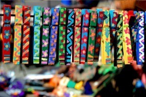 Cute and colorful painted clothes pins.