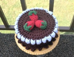 Calorie Free Crochet Cake Decoration - finished cake