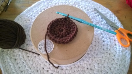 Calorie Free Crochet Cake Decoration - crochet circle needs to be long enough to cover the top of the round box
