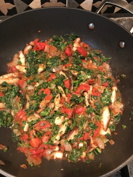sautéing onions, mushrooms, tomatoes and spinach