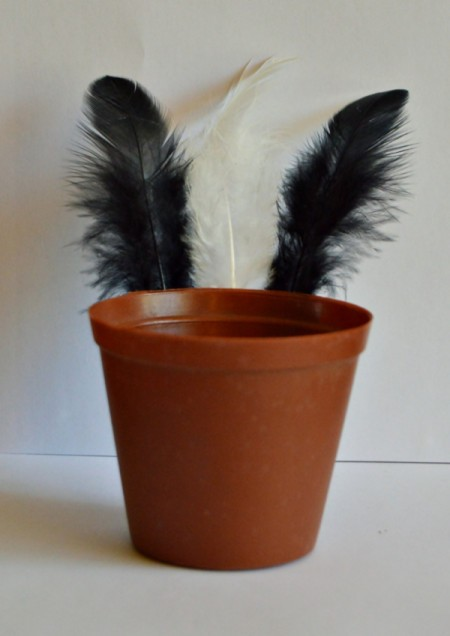 Goggle-Eyed Turkey Candy Box - glue feathers to the back of the pot