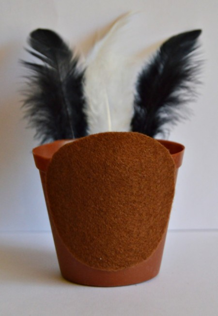Goggle-Eyed Turkey Candy Box - glue felt circle to front of pot, opposite the side with feathers