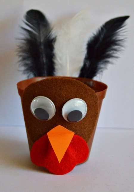 Goggle-Eyed Turkey Candy Box - glue eyes in place
