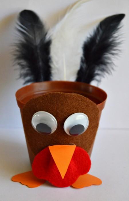 Goggle-Eyed Turkey Candy Box - glue feet to bottom of the pot