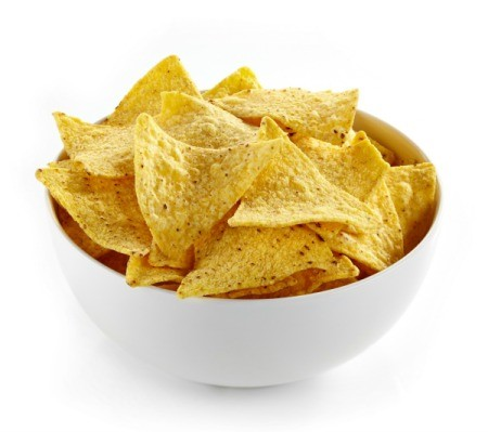 Chips in a white bowl.