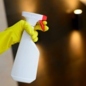 A spray bottle with a homemade cleaner.