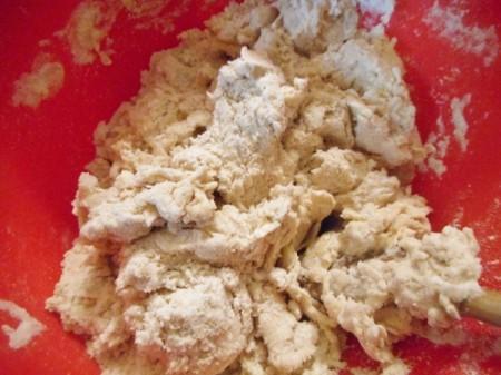 adding water to flour mixture