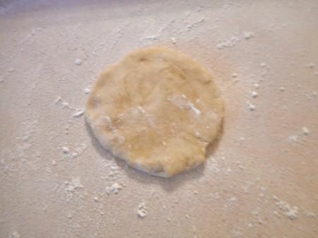 flattened ball of dough