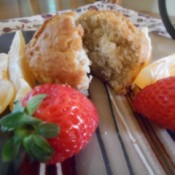 Oatmeal Muffin split with fruit on plate