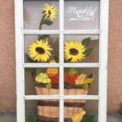 Repurposed Festive Window - finished fall motif recycled painted window