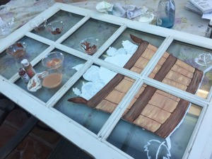 Repurposed Festive Window - when dry lightly draw on designs with a pencil and begin painting
