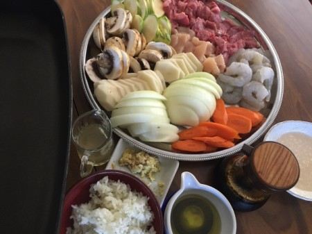 cut vegetables, shrimp and meats
