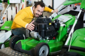 Man Buying Walk-Behind Lawn Mower