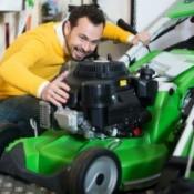 Man Buying Walk-Behind Lawn Mower
