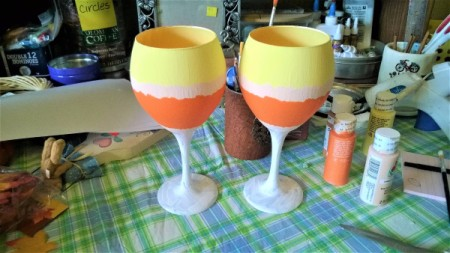 Candy Corn Wine Glass Candle Sticks - orange layer with an optional peach blended narrow layer between