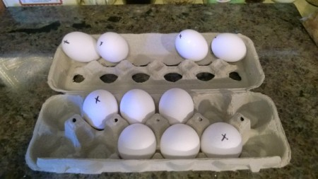 Storing eggs to keep the egg carton balanced.