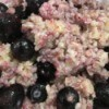 Oatmeal with frozen blueberries added.