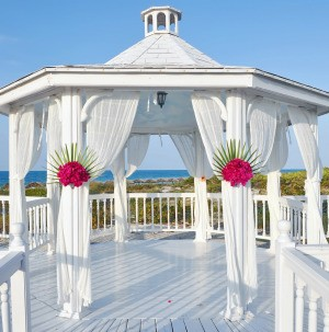 Fabric draped in a gazebo for a wedding.