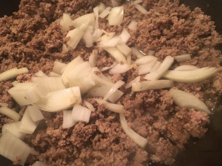 adding onion to ground beef