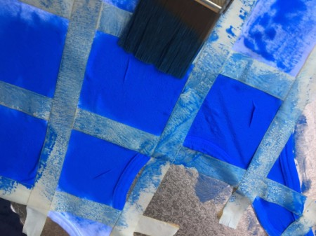 Tape-Dyed Top - gently dab on the paint to edges of squares and up onto the tape