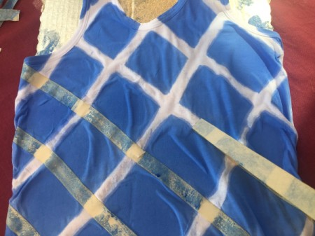 Tape-Dyed Top - begin peeling off the top layer of tape
