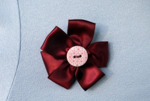 Ribbon and Button Flower Brooch - finished wine colored ribbon flower pin