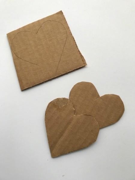 Yarn Heart Garland Decoration - traced and cut hearts