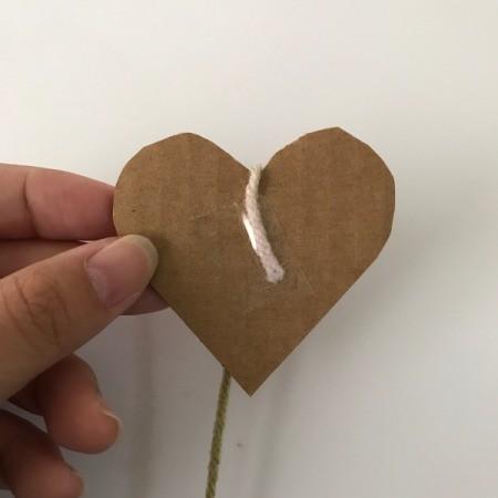 Yarn Heart Garland Decoration - tape yarn end to heart