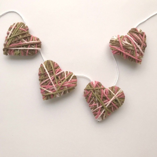 Making a Yarn Covered Paper Heart Garland | ThriftyFun